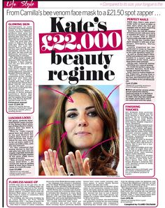 Duchess of Cambridge beauty regime... including Heaven Skincare by Deborah Mitchell bee venom mask