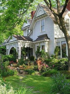 Old homes with porches and flowers