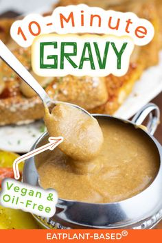 Seven simple ingredients are all it takes to make this deliciously easy vegan gravy from EatPlant-Based. It's ready in less than 10-minutes to pour over your mashed potatoes, roasted veggies, and anything else you can think of. This vegan gravy will become your new go-to, classic healthy gravy recipe.