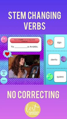 Students get instant feedback – no correcting necessary! These digital activities are not only super-fun for students but they provide comprehensible input of Spanish stem-changing verbs because even the incorrect verbs are spelled and conjugated correctly and the visuals aid in comprehension. This resource is great for online or distance learning because it is self-correcting! Two games in one: Spanish Two and Spanish Three. Take a look! Teach Me Spanish, Learn Spanish Free, Learning Spanish For Kids, Best Language Learning Apps, Spanish Language Learning, Useful Spanish Phrases, Dual Language Classroom, Student Reading, Distance