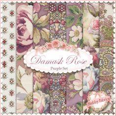 "Damask Rose  Purple 7 FQ Set By Robert Kaufman: Damask Rose is a collection by Robert Kaufman Fabrics.  100% cotton.  This set contains 7 fat quarters, each measuring approximately 18"" x 21""."