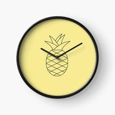 « Ananas Noir et Blanc » par LenysEcoHome | Redbubble Pile Aa, Gold Pineapple, Golden Color, Transparent, Oeuvre D'art, Canning, Window Glass, Clock, Black N White