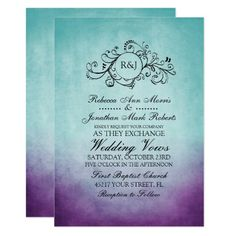 Rustic Teal Purple Bohemian Wedding Invitation