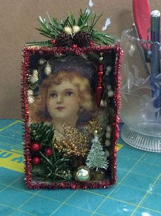 Shadow boxes from Christmas cards
