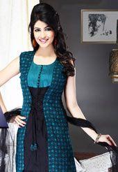 Teal and Black Cotton Salwar Suit Salwar Designs, Kurti Neck Designs, Stylish Dresses, Fashion Dresses, Simple Dresses, Dress Neck Designs, Blouse Designs, Pakistani Dresses, Indian Dresses