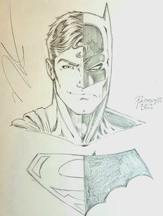Norm Rapmund on - Batman Poster - Trending Batman Poster. - Norm Rapmund Composite Superman/Batman for LBCC Superman Drawing, Batman Painting, Superman Art, Comic Drawing, Cartoon Kunst, Comic Kunst, Cartoon Art, Comic Art, Marvel Drawings