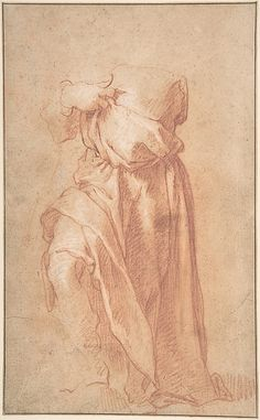 Study of a Headless Draped Figure with Arms Crossed Verso: Figure of a Man in a Voluminous robe, Seen from Behind  Attributed to Abraham Bloemaert  (Netherlandish, Gorinchem 1566–1651 Utrecht)    Date:      late 16th–mid-17th century  Medium:      Red chalk heightened with white, framing line in pen and brown ink; verso: red and white chalk  Dimensions:      11 1/16 x 6 7/8 in.