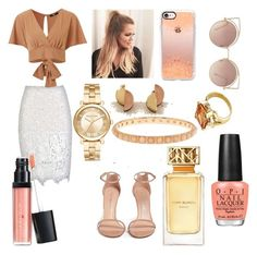 A fashion look from November 2016 featuring tie t shirt, lace pencil skirts and ankle strap shoes. Browse and shop related looks. Tied T Shirt, Wolf Moon, Ankle Strap Shoes, Laura Geller, Opi, Irene, Casetify, Stuart Weitzman, Polyvore Fashion