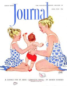 Mother-Daughter swimsuits ~ Ladies' Home Journal cover, June 1948.