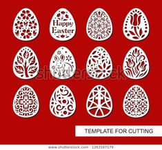 Set of decorative elements - Easter Eggs with flowers and patterns. Template for laser cutting, wood carving, paper cut and printing. Egg Template, Easter Templates, Kirigami, Laser Cut Paper, Easter Egg Pattern, Carved Eggs, Laser Cut Patterns, Easter Flowers, Egg Crafts