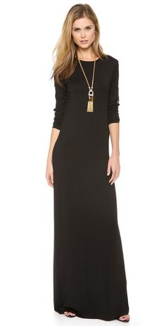 @Rachel Zoe obsessed! Love this staple long sleeve black maxi dress. She rocks it effortlessly and layers it chicly every time!