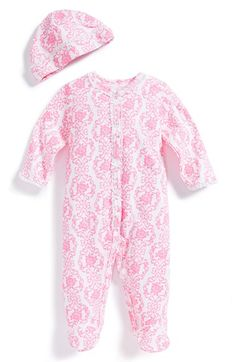 Free shipping and returns on Little Me 'Damask Scroll' Print One-Piece & Hat (Baby Girls) at Nordstrom.com. Lacy trim sets off the vintage candy-hued print of a cozy one-piece crafted from soft cotton and paired with an adorable matching hat.