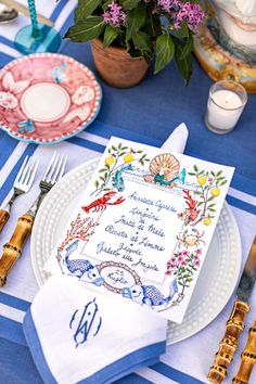 A Colorful, Italian-Inspired Table with Clary Bosbyshell Italian Table, Italian Lunch, Diy Centerpieces, Table Decorations, Pastel Wedding Stationery, Blue Table Settings, Thanksgiving Table Settings, Fall Table, Festival Decorations