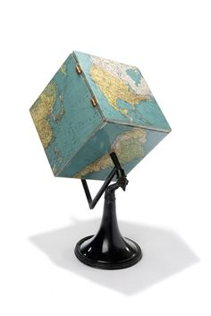Jacques Carelman French / Globe terrestre pliant Terre cubique montée sur un axe sur pied [sculpture] . world globe in shape of a square box instead of a round ball, on a pedestal Globe Art, Map Globe, Vintage Globe, Vintage Maps, World Globes, Oldschool, Old Maps, We Are The World, Assemblage Art