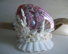 Beach Theme Seahorse Shell Coral Cake Topper, Pink Jeweled Seahorse Seashell Cake Topper, Pink Shell Wedding Bridal Anniversary Cake Topper