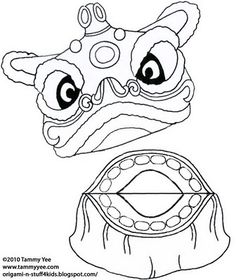 """Dragon Paper Bag Puppet Template   Lift """"flap"""" of paper bag and glue mouth as shown."""