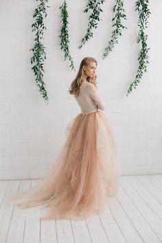 Champagner nackt Elfenbein Kleid zwei Stück Hochzeitskleid
