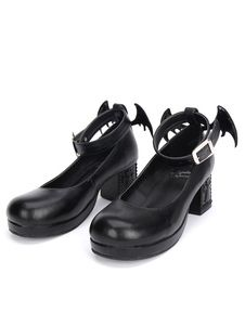 0ffc1fd6b526 Gothic Lolita Shoes Black Cross Mary Jane Ankle Strap Gothic Lolita Shoes  Kitten Heels Pumps With