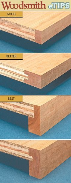 Strengthening plywood shelves with edging.
