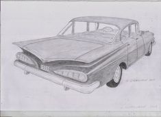 Classic American Car Drawings by pencil artist, Derek Gisbourne. Lowrider Drawings, Lowrider Art, Car Drawings, Car Drawing Pencil, Pencil Drawings, Chevrolet Impala, Chevy, Cars Coloring Pages, Classic Chevrolet