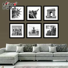 J970-89% off European decorative painting modern minimalist black and white stylish restaurant with frame construction wall wall painting