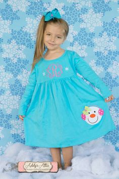Christmas Dress Knit Dress Snowman Appliqued by AddysAtticOnEtsy, $35.00