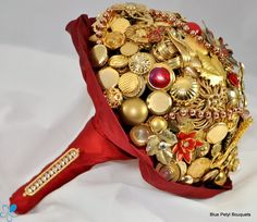 Gold & Burgundy Jeweled #ButtonBouquet UM03