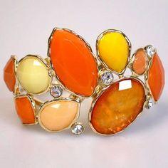 Gemstone Jewelry, Jewelry Necklaces, Bangle Bracelets, Bangles, Jaune Orange, Orange Color, Orange Yellow, Colour, Ring Necklace