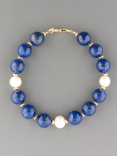 Lapis Lazuli Bracelet with Pearls - 10mm round stones with gold beads
