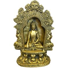 Indian Vintage Meditating Buddha Temple Sculpture Yali Lion Arch Frame... (5,780 MXN) ❤ liked on Polyvore featuring home, home decor, yoga statues, buddha statue, brass lion statue, buddha sculpture and lion head statue