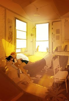 Rise and shine.(or I'll tickle you till you roll out of bed) Illustration by Pascal Campion Couple Illustration, Digital Illustration, Hj History, Interracial Art, Pascal Campion, Couple Drawings, Couple Art, Love Art, Amazing Art
