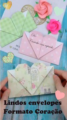 Origami Envelope Easy, Instruções Origami, Paper Crafts Origami, Easy Paper Crafts, Diy Crafts For Gifts, Diy Arts And Crafts, Creative Crafts, Handmade Envelopes, Make Envelopes