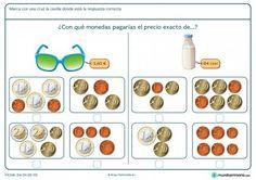 Ficha de marcar el precio exacto de las gafas para primaria