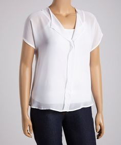 Love this White Top - Women & Plus on #zulily! #zulily.com finds to 3XXX