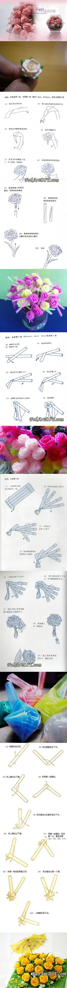DIY Roses from Drinking Straw in 4 Ways | www.FabArtDIY.com LIKE Us on Facebook ==> https://www.facebook.com/FabArtDIY