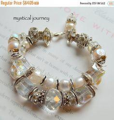 ON SALE charm bracelet, vintage bracelet, pearl bracelet, multi strand bracelet, wrap bracelet, crystal bracelet, christmas for her, romance