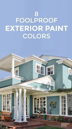 When choosing your new outdoor color palette, opt for something that will enhance your home's style and give you plenty of curb appeal. These 8 foolproof exterior paint colors, like soft aqua along with white trim detail, never looked so good! Outdoor Paint Colors, Exterior Paint Colors For House, Paint Colors For Home, Outdoor House Colors, Cottage Exterior Colors, Exterior Paint Ideas, Outdoor House Paint, Exterior Siding Colors, Exterior Color Palette
