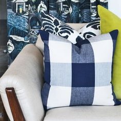 Classic navy & cream check pillow available at www.tonicliving.com (or click on picture). #tonicliving #pillows #homedecor
