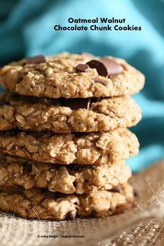 Oatmeal Walnut Chocolate Chunk Cookies - Vegan Richa