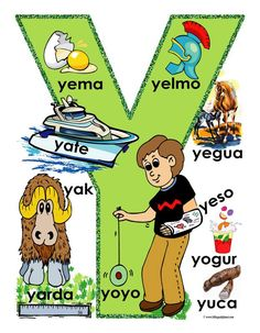 Spaanse woorden leren aan de hand van het Spaanse alfabet met afbeelding. Spaanse woorden die beginnen met y.