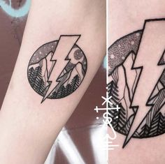 Lightning bolt forearm tattoo