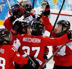 Canadian women's Olympic hockey team win over USA. Sochi 2014. - YAY TEAM CANADA! Will always remember the hugs and cheers that goal brought at workplace!!