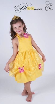 Disney Inspired Princess Belle Halter Dress for by 4yourlittlestar, $49.99