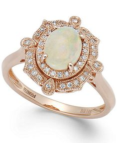 Aurora by EFFY Opal (5/8 ct. t.w.) and Diamond (1/6 ct. t.w.) Oval Ring in 14k Rose Gold - Rings - Jewelry & Watches - Macy's