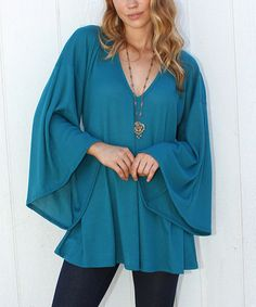 Look what I found on #zulily! Rodeo Fox Teal Bella Angel V-Neck Tunic by Rodeo Fox #zulilyfinds
