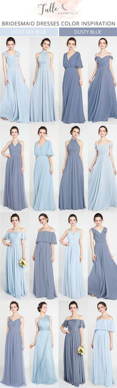 shades of blue bridesmaid dresses for 2018 #bridesmaiddress #bridalparty #bluewedding