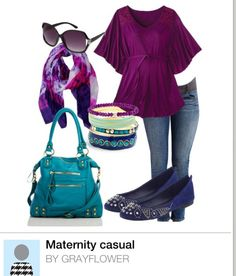 Maternity style. Maternity fashion. Cute casual easy maternity. Dress up with accessories. Spring maternity. Autumn maternity. Purple teal & Navy.