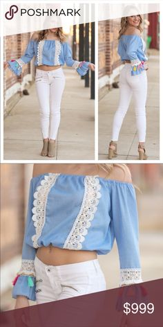 """Just In Adorable Tassel Crop Top! Sweet! Denim Colored Top with Vibrant Tassel Work on Sleeves. Wear with Shorts, Capris, or Jeans! So Adorable. 100% Cotton. Bust and Length S-17"""", M-18"""", L-19"""". Boutique Items are Firm Price Unless Bundled with Other Items from My Closet. Bundle and Save and Pay Only One Shipping Fee! Tops Crop Tops"""