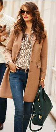 A classic camel coat is always classy
