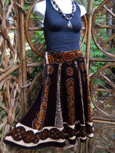 Velvet bohemian skirt in ivory golden copper and by LamplightGifts, $16.50